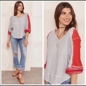 Free People Medium The Bubble Shirt Red & Grey